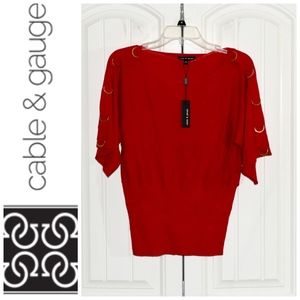 Cable & Gauge Red Top with Gold Rings Size S NWT